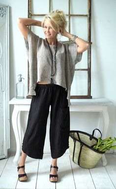 MARRAKESH Linen pants, BLACK - BOHEMIANA - BYPIAS