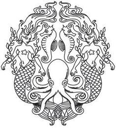 Mermaid Octopus Urbanthread Stencil Creatures Of The Sea Image