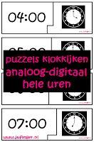Juf Inger: Puzzels Analoog-Digitaal Klokkijken - Hele Uren