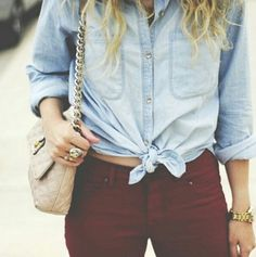 Casual outfit yet fashion forward outfit! Tied chambray shirt with maroon pants! Maroon Jeans, Burgundy Pants, Curvy Outfits, Casual Outfits, Fashion Gallery, Jean Shirts, High Rise Jeans, Autumn Winter Fashion, Fall Fashion