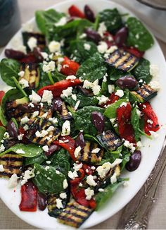 Grilled Vegetable Salad with Feta, Baby Spinach & Kalamata Olives - The simple dressing (lemon-garlic-herb flavor) coats everything lightly ( add grilled chicken breast (or shredded rotisserie chicken), or some grilled or barbecued seafood like salmon, tuna, shrimp, scallops or squid
