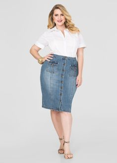dd6a20df9839 Button Front Denim Skirt. Button Front Denim SkirtAshley StewartPlus Size  JeansJean ...