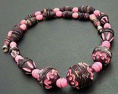 Vintage Art Deco Necklace Galalith French Bakelite Carved Beads Pink Black 17 VG via Etsy