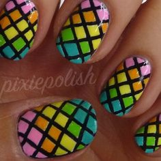 Rainbow Fishnet Nail Art