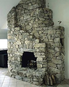 irregular natural stone fireplace