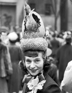 Easter bonnet. The Easter parade in New York City, 1940.  I could make one with a real chicken.