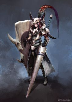 Bone Armor Character Concept, Jeff Chen on ArtStation at https://www.artstation.com/artwork/JnlBZ