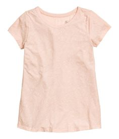 Powder melange. CONSCIOUS. Short-sleeved top in soft slub jersey made from organic cotton.