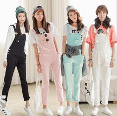 014529711ecb Black White Pink Green Candy Color Women Jumpsuit Slim Moveable Strap  Rompers Casual Denim Overalls Big Pockets Jeans Pants-in Jumpsuits from  Women s ...