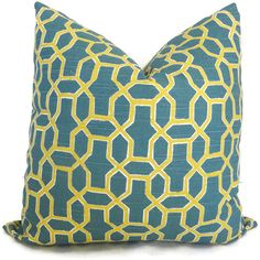 Chartreuse and Teal Trellis Pillow Cover 18x18, 20x20, 22x22 or lumbar - Accent Pillow - Throw Pillow