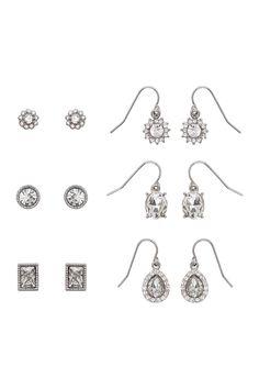 Stud & Dangle Earrings Set - Set of 6