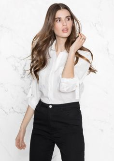 Roll-Up Sleeve Button Down Shirt - White - & Other Stories