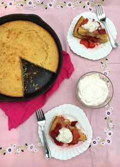 A healthier twist to a classic dessert recipe: Strawberry Lemon Cornbread Shortcakes