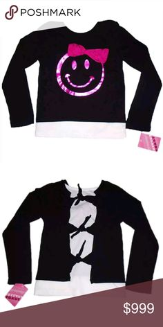 New Girls 5 Happy Face Emoji T-Shirt Tee Top French Toast Happy Face Tee   Condition:New with tags Size:5 Color:Black & White Product Detail:  Great for Back to School Long sleeved Cute Happy face foil Graphic with Bow detail French Toast Shirts & Tops Tees - Long Sleeve