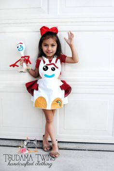 This adorable Forky pinafore dress Movie Halloween Costumes, Toy Story Costumes, Family Costumes, Halloween Kids, Kids Costumes Girls, Toddler Costumes, Baby Costumes, Kids Outfits, Toy Story Kostüm