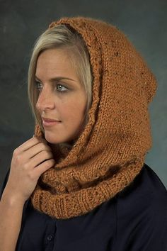 Free Pattern: Hooded Neckwarmer by Vanessa Ewing.... this could be adapted by lengthening the ribbing so that it gave more of a rolled effect and making it very warm.