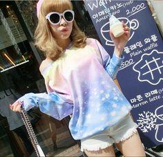 "Japanese harajuku galaxy fleece pullover - Use code ""battytheragdoll"" for 10% off!"