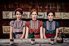 3 beautiful women dressed in dirndl by the Austrian designer Lena Hoschek Beautiful Dresses For Women, Beautiful Women, Folk Fashion, Models, Couture, Traditional Outfits, Halloween, Fashion Photography, Style Inspiration