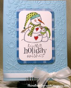 Snowman Hugs Rubber Stamp on  Christmas Card