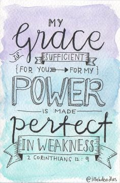 My Grace is Sufficient for You Postcard // 2 Corinthians 12:9 via Jillehdoodles. Click on the image to see more!