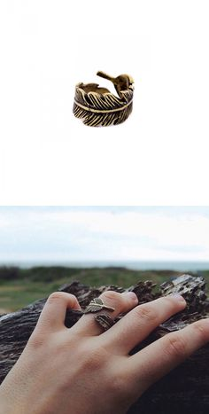 »Curly Etched Feather Band Ring«