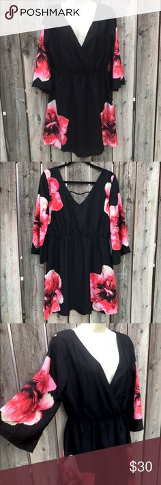 Large Pink Owl Black Poppy Seed Floral Mini Dress Brand new never worn! I bought this and adored it, but lost weight since so I never wore it. It has beautiful Poppy Flower detail and is the perfect addition to a summer outfit. Pair it with black Wedges for the perfect chic look! Comes from a smoke free, pet free home. Size is large. Pink Owl Dresses Mini