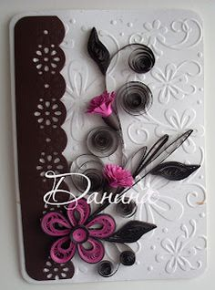 Quilling card in pink and brown range