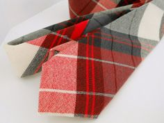 Red Grey and White Plaid Wool Neck Tie by HandsomeAndLace