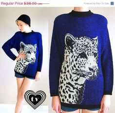 on sale vtg 80s royal purple WHITE LEOPARD print oversized SWEATER knit tunic os animal print. $28.50, via Etsy.