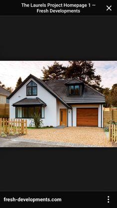 Modern House Bungalow Exterior By Ar Sagar Morkhade: Modern Chalet Bungalows Modern Bungalow House Design, Modern Bungalow Exterior, White Exterior Houses, Bungalow Homes, Bungalow Designs, Bungalow Ideas, Grey Exterior, Modern Roof Design, House Roof Design
