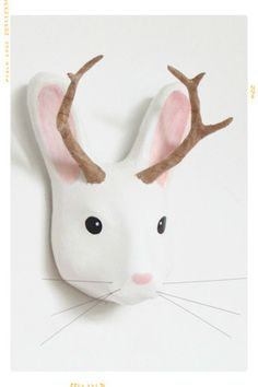 White Jackalope Paper Mache Mount hand painted Macheanimal Fleur + Dot