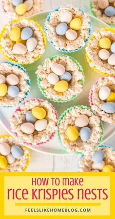 Rice Krispie nests are simple and easy and impressive! Packed with jelly beans, Cadbury mini eggs, or other small candies, the nests are a perfect Easter treat. via @feelslikehome Rice Krispie Nests, Krispie Treats, Rice Krispies, Puffed Rice Cereal, Silicone Cupcake Liners, Cadbury Eggs, Mini Eggs, Allergy Free Recipes, Easter Cupcakes
