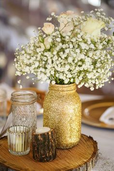 Gold glitter and beautiful rustic wedding centerpiece / http://www.deerpearlflowers.com/glitter-wedding-ideas-and-themes/2/