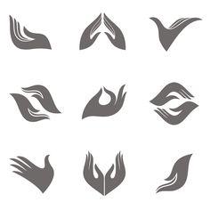 Vector hands design elements for logo creation. Graphisches Design, Design Elements, Massage Logo, Church Logo, Logo Design Tutorial, Logo Creation, Thai Art, Hand Logo, Abstract Logo