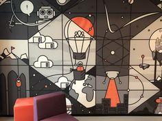 Finished office mural by Mara Kraaijenbrink on Dribbble Office Wall Design, Office Mural, Office Wall Art, Office Walls, Office Interior Design, Office Wall Graphics, Grey Interior Doors, School Murals, Cafe Wall