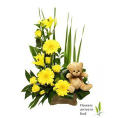 Bouncing Baby - An Arrangement of Yellow roses, Gerberas, Lilies, greenery and a cute little teddy. Beautiful Flower Arrangements, Floral Arrangements, Beautiful Flowers, Pastel Roses, Yellow Roses, International Florist, New Baby Flowers, Baby Balloon, Japanese Flowers