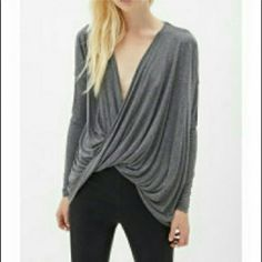 NWOT-Gray Surplice Top Purchased last year, but never worn. Brand new, but came without tags. Super soft. 95%rayon/5% spandex. Free to Live Tops Blouses
