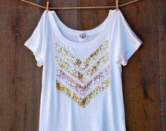 Sequin Chevron Arrow Design Tee T Shirt - The Dazzle Me Chevron Shirt - Liam Payne Tattoo 1D Chevron Shirt Jumper Womens Tee T Shirt