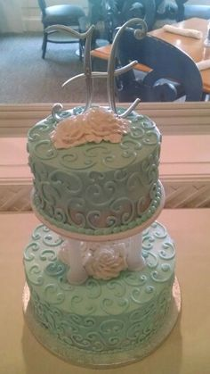 Teal and silver wedding cake