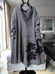Rundholz Kleid gekochte Wolle Elephant Print XL Lagenlook