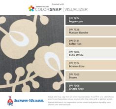 I found these colors with ColorSnap® Visualizer for iPhone by Sherwin-Williams: Peppercorn (SW 7674), Maison Blanche (SW 7526), Softer Tan (SW 6141), Extra White (SW 7006), Echelon Ecru (SW 7574), Stucco (SW 7569), Grizzle Gray (SW 7068).
