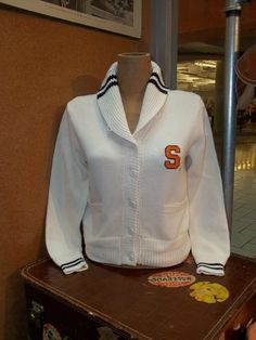 Preppy Vintage Style White Syracuse Women's Shawl Collar Sweater from The Vault