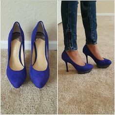 Royal blue rhinestone & glitter suede heels *Such a beautiful royal blue heel, has rhinestones on platform and silver glitter all on the bottom of heel* *Worn once for a wedding, but fit me small* *True to size* *Minor defects, not noticible from far away only close up* *Leather upper* Gianni Bini Shoes Heels