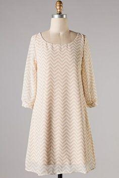 Dress Chevron Zig Zag Beige - Kelly Brett Boutique