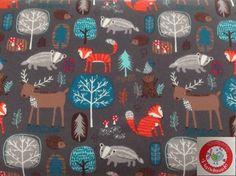 Stoff Tiermotive - Jersey - Waldtiere - Tiere - Wald - dunkelgrau - ein Designerstück von stoffperle-material bei DaWanda