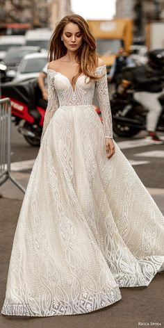 Wedding Gown A Line, Off Shoulder Wedding Dress, Long Sleeve Wedding, Wedding Dress Sleeves, Wedding Gowns, Off Shoulder Ball Gown, Long Sleeve Bridal Dresses, Wedding Shot, Bling Wedding