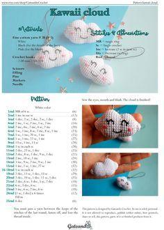 jpg 1 142 × 1 600 Pixel… Cloud amigurumi pattern by Gateando Crochet Source by adelatrebeskova Crochet Kawaii, Crochet Diy, Crochet Crafts, Crochet Projects, Diy Crafts, Crochet Patterns Amigurumi, Crochet Dolls, Crochet Baby Mobiles, Confection Au Crochet