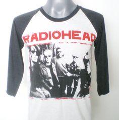 RADIOHEAD Rock  Jersey  Baseball  3/4  Long Sleeve  Two Tone Unisex  Tshirt  Size  M - Women