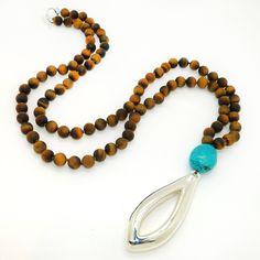 Matte Tigers Eye & Turquoise Long Necklace Sterling Silver Simon Sebbag Necklace Pendant PN415MTE-TQ