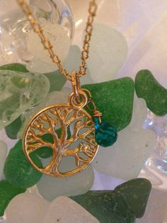 "Gold Vermeil ""Tree of Life"" Peacock Teal Quartz Pendant Charm Necklace on Etsy, $48.00"